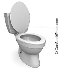 3d rendered illustration of a simple white toilet
