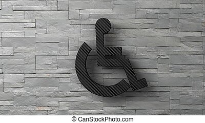 3d toilet disable sign on white brick wall. 3d render