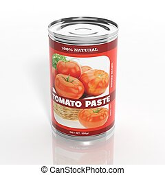 3D tomato paste metallic can isolated on white
