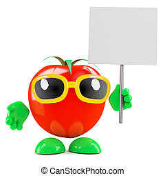 3d Tomato placard - 3d render of a tomato with a placard