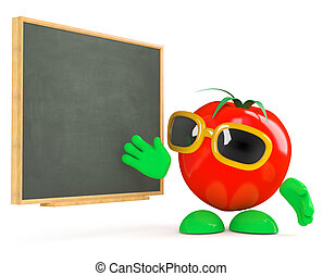 3d Tomato teaches at the blackboard