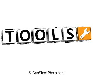 3D Tools Button Click Here Block Text