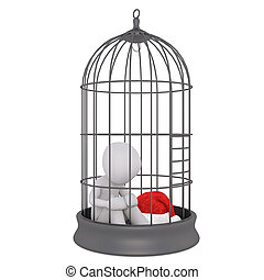 3d toon figure with Santa hat in bird cage