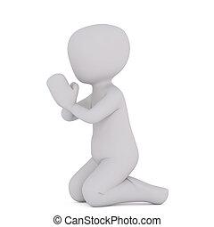 3d toon kneeling in prayer on white