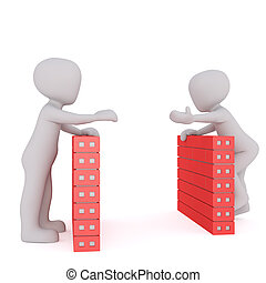 3d toon workers talking over filing cabinets
