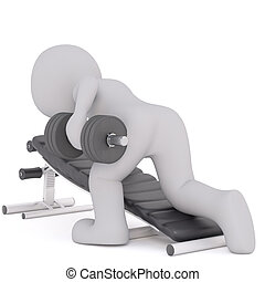 3d toon working out with dumbbells