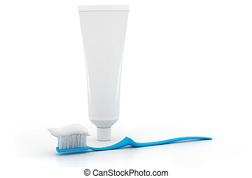 3d tooth brush, on white background