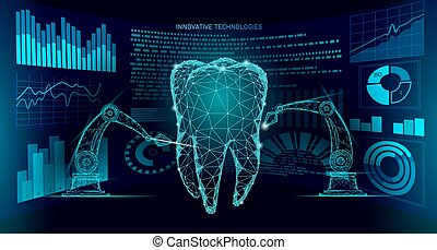 3d tooth innovation robot arm polygonal concept. Stomatology symbol low poly triangle abstract oral dental medical care business. Connected dot particle modern render blue vector illustration art
