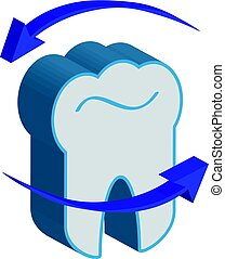 3D tooth with arrows on white background.