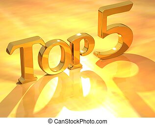 Top 5 Gold Text - 3D Top 5 Gold Text on yellow background