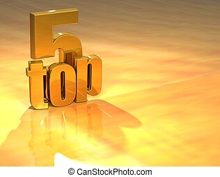 3D Top 5 Gold Text over yellow background