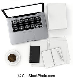 3d top view of an office desk with laptop and documents
