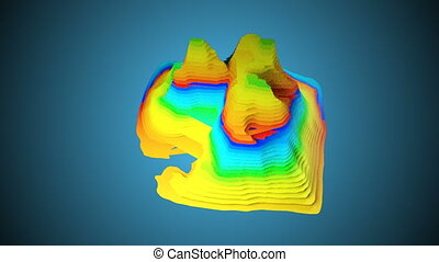 3D Topographic map background concept with colored layers,...