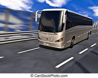 3D Tour bus - Silver tour bus on highway in motion. No...