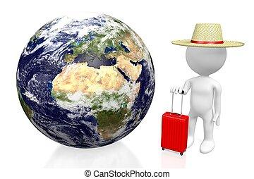3D tourist, travel concept