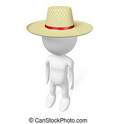 3D tourist with straw hat
