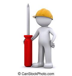 3d, trabajador construcción, con, destornillador