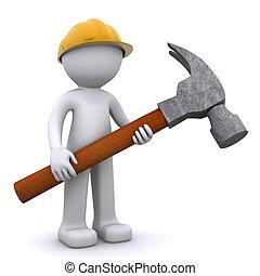 3d, trabajador construcción, con, martillo