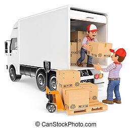 3d, trabajadores, descargar, cajas, de, un, camión