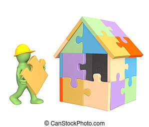 3d, trabajando, títere, edificio, el, casa