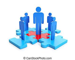 3d, trabajo en equipo, cooperation., ilustración negocio