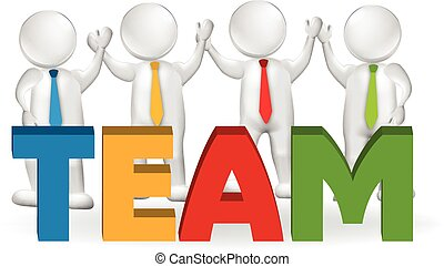 3d, trabajo en equipo, ejecutivos, trabajadores, logotipo