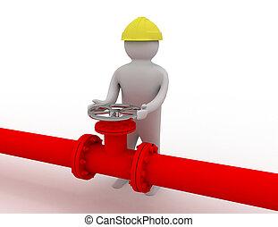 3d, trabalhador, e, oleoduto