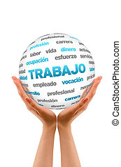 3d, trabalho, palavra, esfera, (in, spanish)