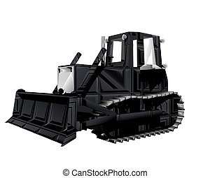 3D tractor isolated on a white