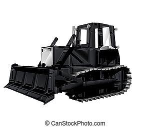3d, tractor, vrijstaand, op, een, witte