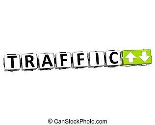 3D Traffic Button Click Here Block Text