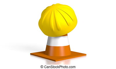 3D traffic cone and helmet