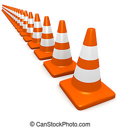 3d Traffic cones - 3d render of traffic cones
