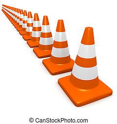 3d Traffic cones - 3d render of traffic cones