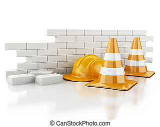 3d Traffic cones, Helmet and brick wall.