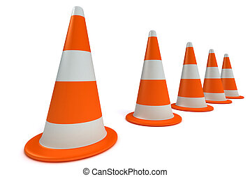 3d Traffic-cones. white background.