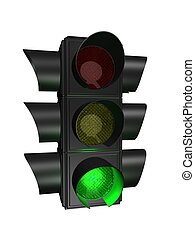 3d traffic light - 3d rendered illustration of an isolated ...