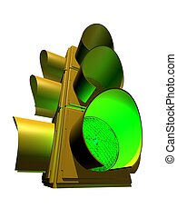 3d traffic light - 3d rendered illustration of an isolated...