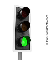 3d Traffic light shows go - 3d render of a traffic light...
