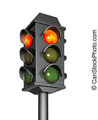 3d traffic light with a burning red signal. Object over ...