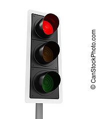3d Traffic lights shows stop - 3d render of a traffic light...