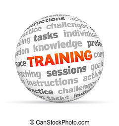 Training - 3d Training Word Sphere on white background.