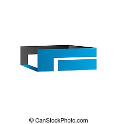 3d transparent abstract blue grey color perspective box logo