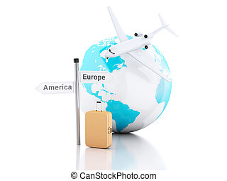 3d travel suitcase, airplane and world globe. travel concept