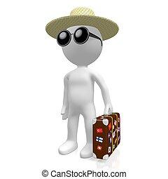 3D traveler, tourism concept