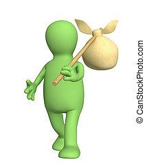 3d traveller - puppet, carrying bag on a stick