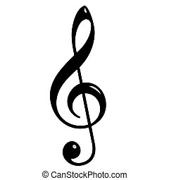 3d Treble Clef isolated in white