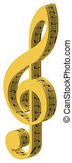 3d treble golden clef
