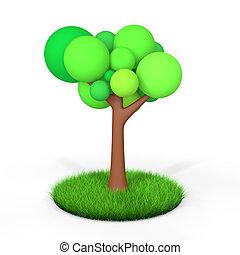 3d tree in green grass