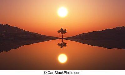 3D tree in sunset landscape
